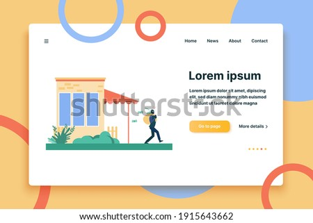 Man breaking into house and robbing it. Burglar, money. Flat vector illustration. Criminal concept can be used for presentations, banner, website design, landing web page Zdjęcia stock ©