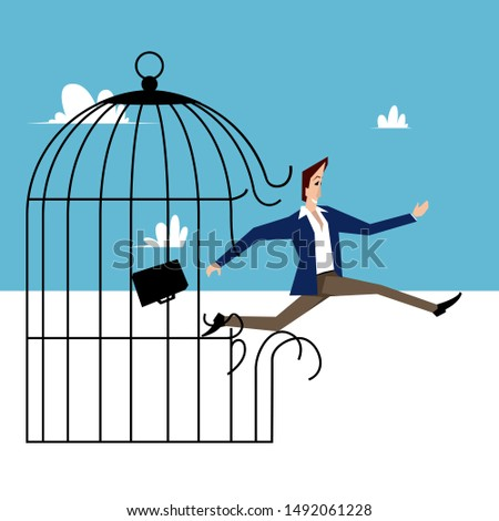 Man breaks a birdcage and frees himself