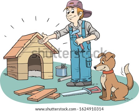 Man builds a house for a dog.
