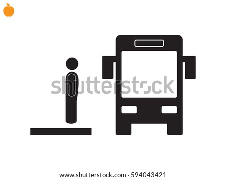 man, bus, icon, vector illustration eps10
