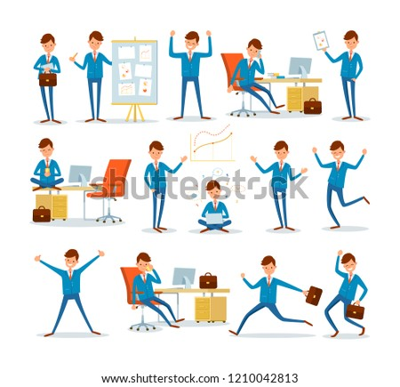 Man businessman characters in office, ceo at work vector. Director by table with computer, chief executive talking on phone. Worker with idea eureka
