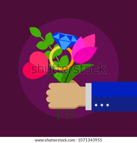 Man, businessman gives bouquet of flowers, heart,  diamond ring, gift, marriage proposal, surprise, happy valentines day. Vector illustration
