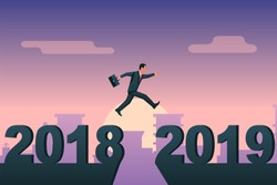 Man businessman jumps from 2018 to 2019 on background city. Vector illustration flat design. Big numbers. Forward to future.