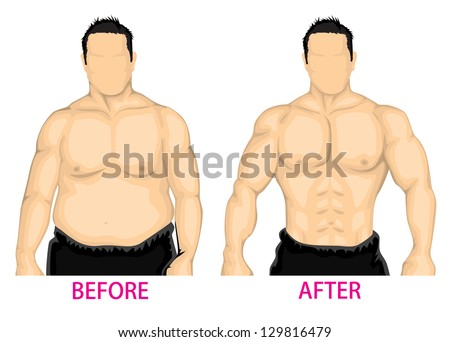 man bust before and after diet
