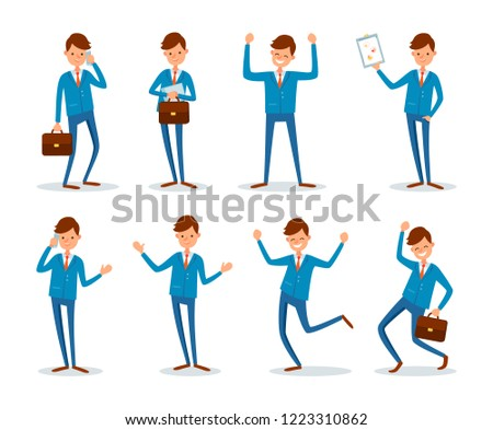 Man busy talking on phone with client people vector. Businessman presenting plan strategy of company work. Successful chief executive having good mood