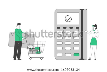 Man Buyer Holding Huge Credit Card Pushing Trolley with Food and Grocery Purchases to Cashier Desk with Saleswoman Prepare Pos Terminal for Cashless Payment. Cartoon Flat Vector Illustration, Line Art