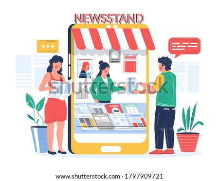 Man buying and woman reading newspaper magazine online in mobile phone newsstand, vector flat illustration. Digital newsstand concept with male and female cartoon characters news readers. Stockfoto ©
