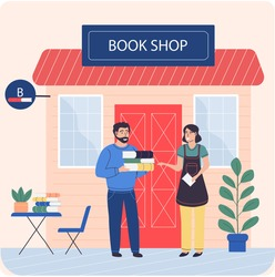 Man buys books from woman near bookstore. Businesswoman sells books to readers in shop. Woman works and shows literature in institution. Book shop earns and sells works by contemporary authors