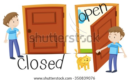 man by closed and opened door