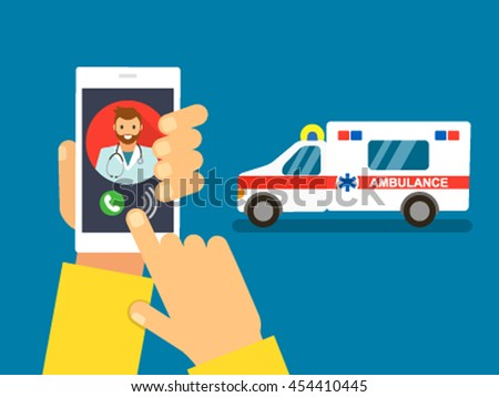 man calling on the phone and call an ambulance. flat vector illustration