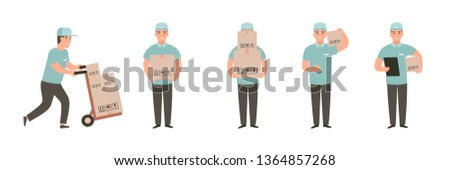 Man carries a cart with boxes. Delivery goods with dolly by hand. Delivery guy pushing a hand truck with purchases. Cartoon flat vector character design set Stock photo ©