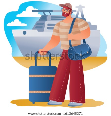 man carries a suitcase and carries a bag on his shoulder, about to go on a trip or a business trip, a large cruise liner is seen behind him,
