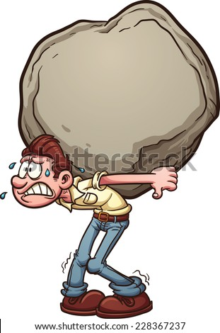 man carrying a heavy burden a huge rock vector clip art