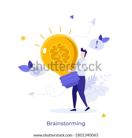 Man carrying glowing lightbulb with brain inside. Concept of brainstorming, power of intelligence, creative thinking, innovative idea generation. Modern flat colorful vector illustration for banner. Сток-фото ©