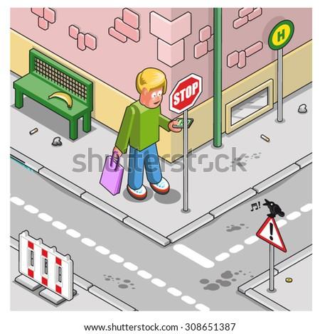 man carrying shopping bag runs