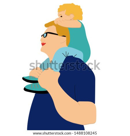man carrying young boy smiling