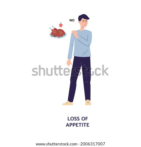 Man cartoon character refuses to eat, cartoon flat vector illustration isolated on white background. Loss of appetite in result of food poisoning or disease symptom. Stock photo ©
