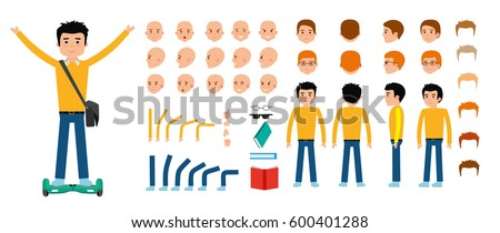 Man character creation set. Young guy, student, teenager. Icons with different types of faces and hair style, emotions, front, rear side view of male person. Moving arms, legs Vector flat illustration