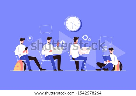 Man character doing different activities vector illustration. Guy sitting with smartphone, making videocall via internet app on pc, working at computer and reading book