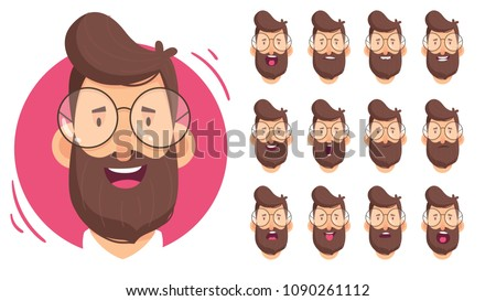 Man character for your scenes.Character ready for animation. Funny cartoon. Set for character speaks animations.