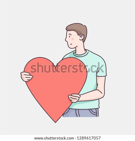 Man character holding big loving heart. Sending love message to beloved one. Hand drawn flat style linear illustrations. Isolated vector on white background. Valentine's day card design template.