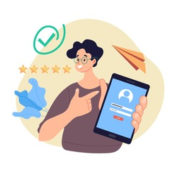 Man character holding phone with login and password field on screen concept. Modern style simple flat vector illustration