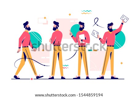 Man character in different poses set vector illustration. Worker in casual clothes going, waiting for someone, standing with docs and showing papers flat style design