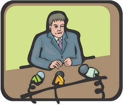 Man Character - on green background with a brown desk and microphone : vector illustration