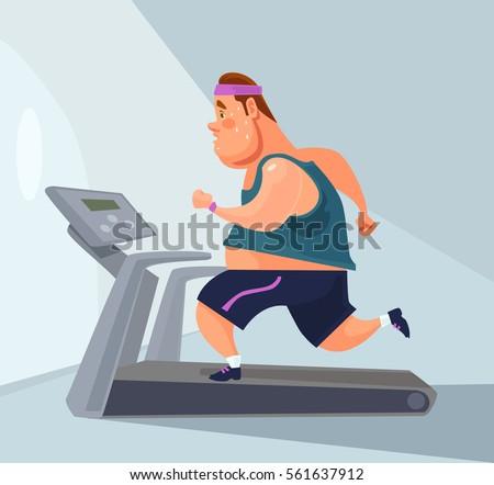 Man character runs on treadmill. Vector flat cartoon illustration
