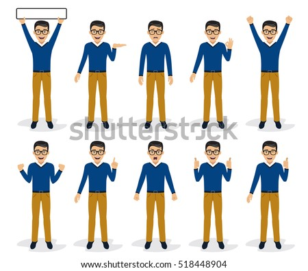 Man character set in various poses, isolated, vector illustration