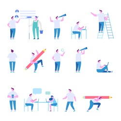 Man character set. Teamwork. Working together in the company. Brainstorming, searching for new ideas solutions. Flat vector illustration isolated on white.