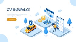 Man Character Signing Car Insurance Policy Form. Insurance Agent providing Security Document. Auto Care and Protection Concept. Flat Isometric Illustration.
