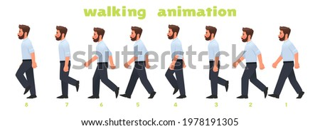 Man character walking animation. Businessman walks, a step by step cycle of pictures. Vector illustration in cartoon style