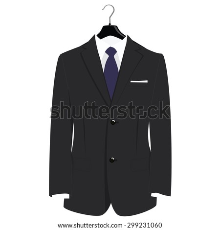 Man classical black suit on plastic hanger vector illustration. Grey businessman suit with blue neck tie and white shirt