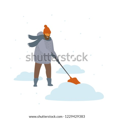 man clean up shoveling snow drifts cartoon isolated vector illustration winter scene