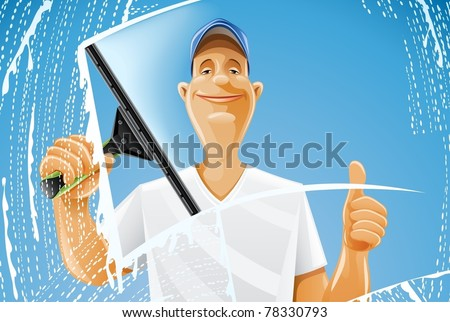 man cleaning window squeegee spray vector illustration