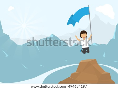 man climbing mountain with blue