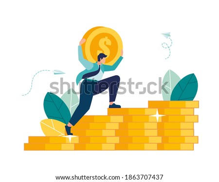 man climbs coin chart, investment management, money growth and profit chart, career growth to success, flat color icons, business analysis, vector illustration