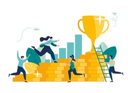 man climbs coin graph, struggle for success, investment management, money growth and profit graph, career growth to success, flat color icons, business analysis, vector illustration