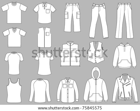 Man clothes collection isolated on grey background
