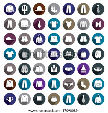 Man clothes vector icon set.