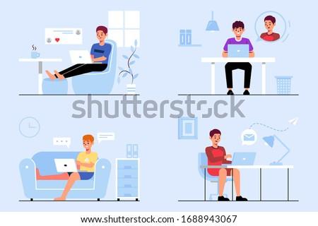 man collection work at home flat illustration vektor Stock foto ©