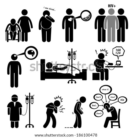 Man Common Diseases and Illness Stick Figure Pictogram Icon Cliparts