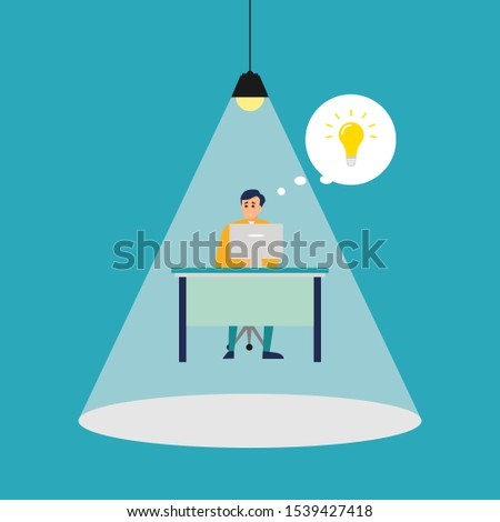 man concentrating and focusing on his computer work and thinking of new idea under a spot light. Vector artwork concept depicts focus, working hard, dedication, and high attention.