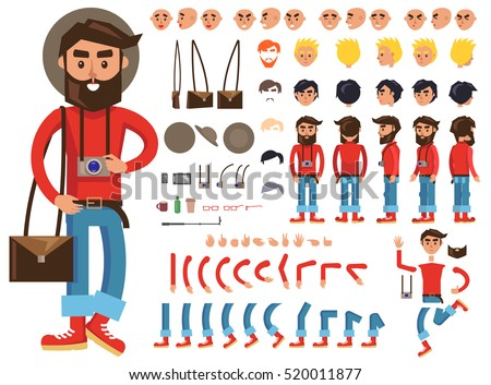 Man constructor. Man with photograph and bag. Separate part of male person. Icons with different emotions on face. Various types of faces. Front, side, back view of man. Bended hands, legs. Vector