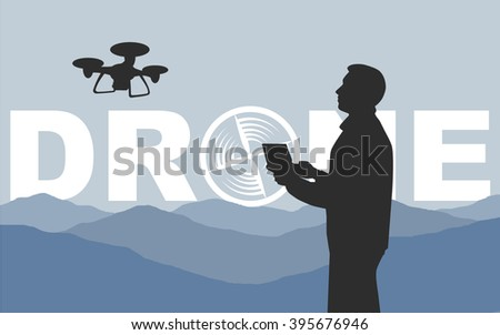 man controls the drone black