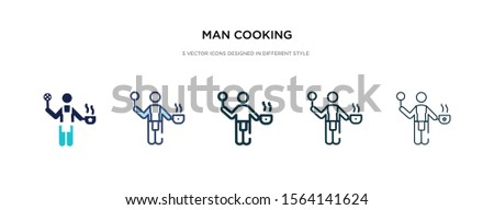 man cooking icon in different