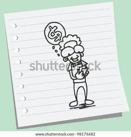 man counting money doodle illustration