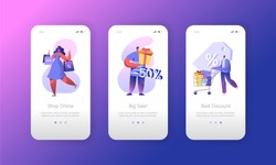 Man Customer Sale Shopping Mobile App Page Onboard Screen Set. Woman Character Buy Big Commercial Discount Gift Concept for Website or Web Page. Flat Cartoon Vector Illustration