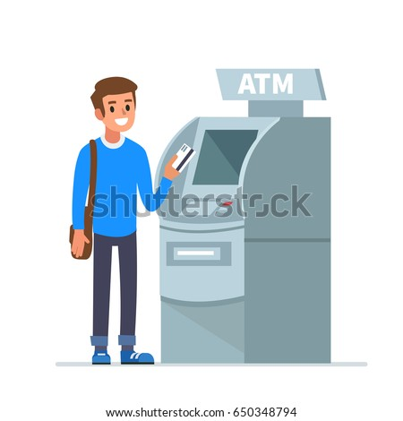 Man customer standing near atm machine and holding credit card. Flat style vector illustration isolated on white  background.